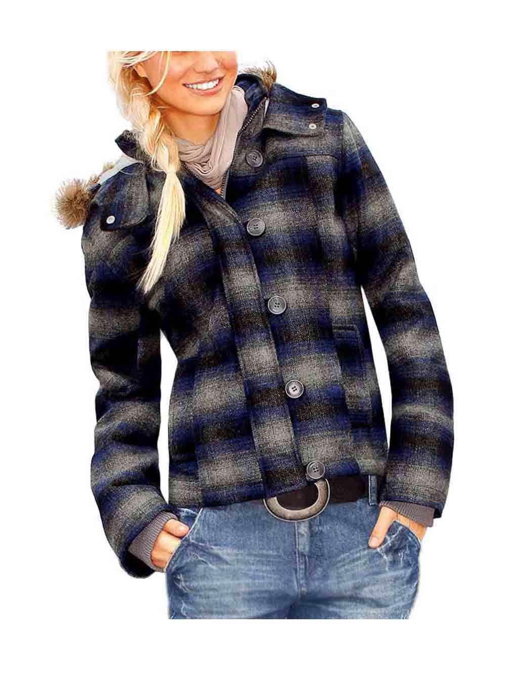 kurtka czarna damska z kapturem w kratkę